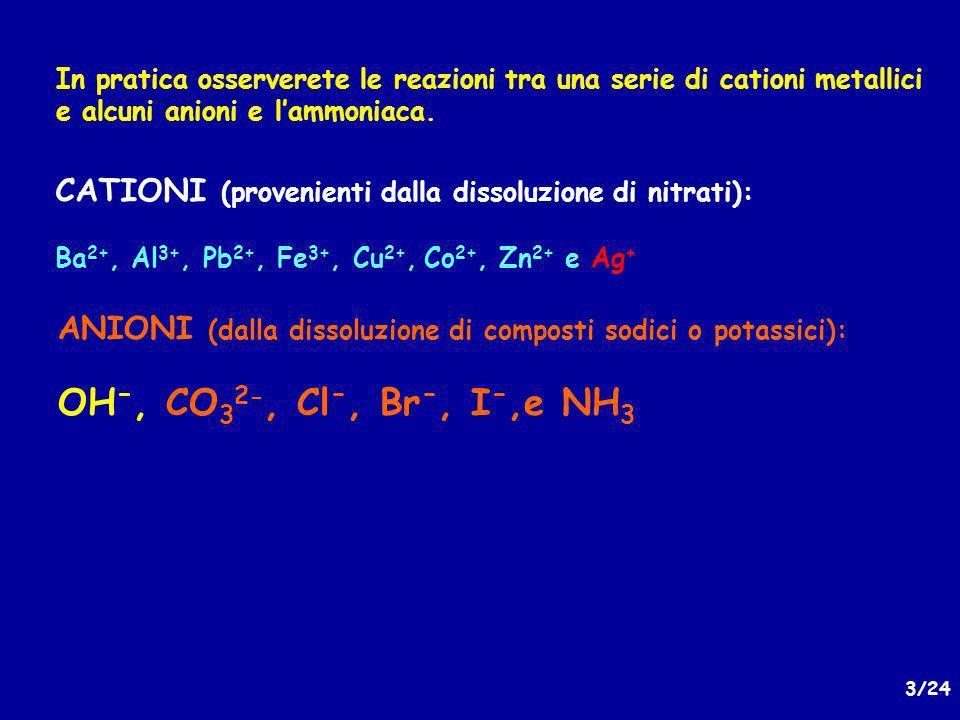 14/24 Linterazione degli ioni ossidrile con i vari cationi metallici può portare alla formazione dei corrispondenti idrossidi (insolubili, colloidali) in base alla seguente reazione: M n+ + nOH - (aq) M(OH) n (s) Gli idrossidi che si formano possono avere ancora affinità per gli ioni idrossido dando un complesso (che molto spesso si disidrata) : M(OH) n (s) + + mOH - (aq) [M(OH) n+m ] m- Al(OH) 3(s) + OH - (aq) [Al(OH) 4 ] - AlO 2 - + 2H 2 O Tetraidrosso- alluminato Alluminato Il comportamento dei cationi rispetto agli ioni OSSIDRILE (OH - )