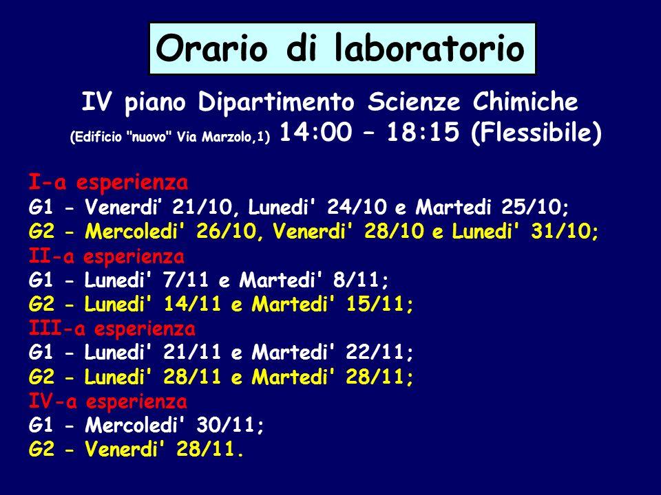 Orario di laboratorio IV piano Dipartimento Scienze Chimiche (Edificio
