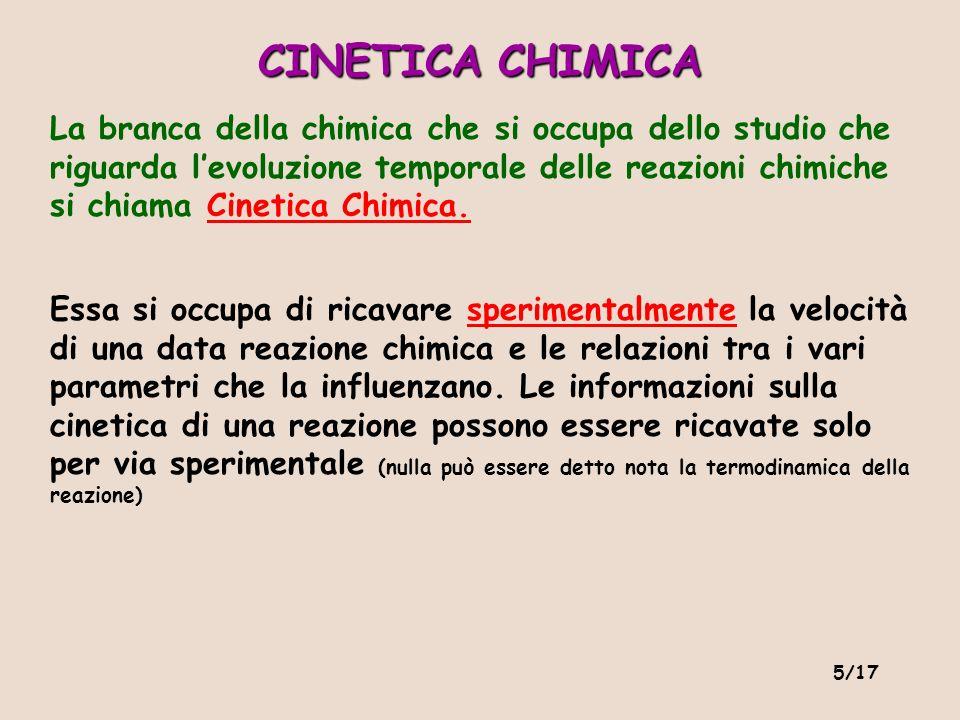 5/17 La branca della chimica che si occupa dello studio che riguarda levoluzione temporale delle reazioni chimiche si chiama Cinetica Chimica. Essa si