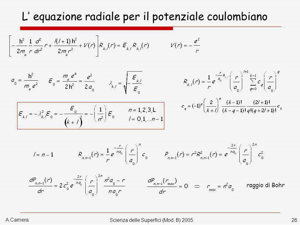 A.Carnera Scienza delle Superfici (Mod. B) 200526 L equazione radiale per il potenziale coulombiano raggio di Bohr
