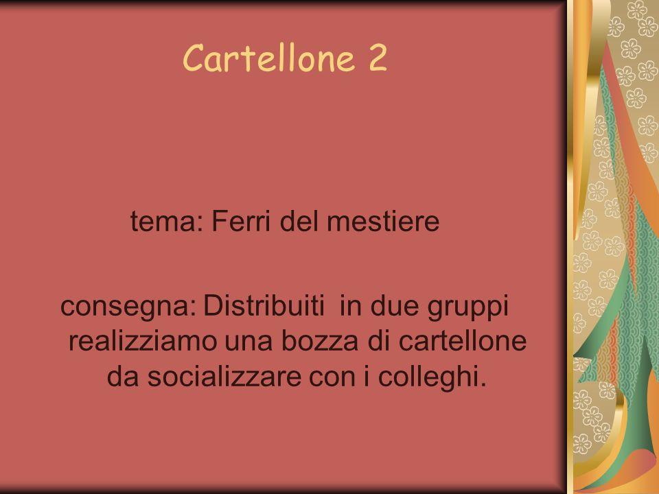 Cartellone 2 tema: Ferri del mestiere consegna: Distribuiti in due gruppi realizziamo una bozza di cartellone da socializzare con i colleghi.