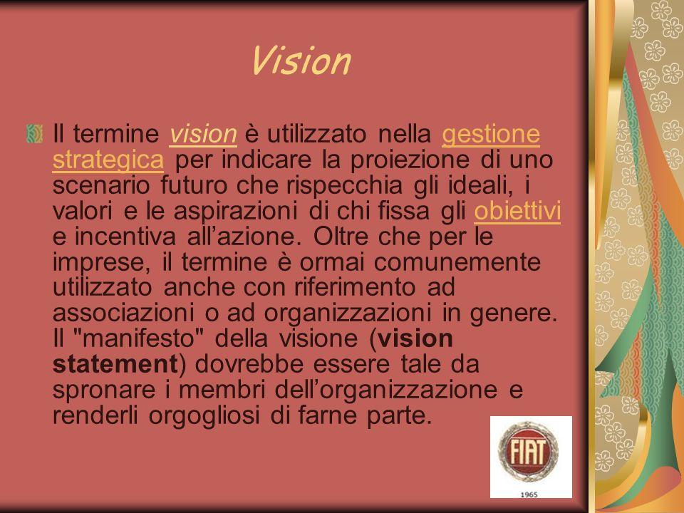 Vision Il termine vision è utilizzato nella gestione strategica per indicare la proiezione di uno scenario futuro che rispecchia gli ideali, i valori e le aspirazioni di chi fissa gli obiettivi e incentiva allazione.