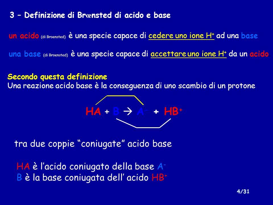 5/31 3b – Conseguenze della definizione di Br œ nsted La reazione di autoprotolisi dellacqua è una reazione acido-base H 2 O + H 2 O H 3 O + + OH - Lacqua si comporta sia da acido che da base (anfolita o sostanza anfotera) Lacqua è la base coniugata di H 3 O + e allo stesso tempo Lacqua è l acido coniugato di OH -