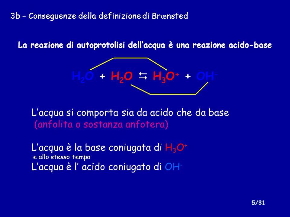 6/31 3c – Conseguenze della definizione di Br œ nsted La reazione di dissociazione di un acido è una reazione acido- base: HA + H 2 O H 3 O + + A - In cui lacqua si comporta da base La reazione di dissociazione di una base è una reazione acido-base: B + H 2 O BH + + OH - In cui lacqua si comporta da acido
