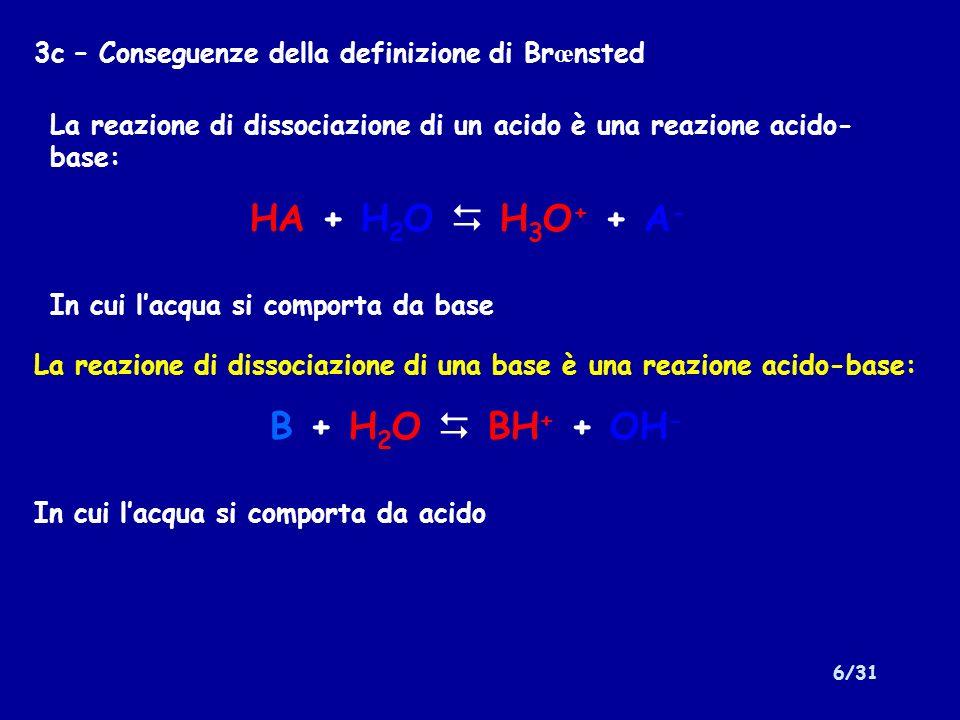 6/31 3c – Conseguenze della definizione di Br œ nsted La reazione di dissociazione di un acido è una reazione acido- base: HA + H 2 O H 3 O + + A - In