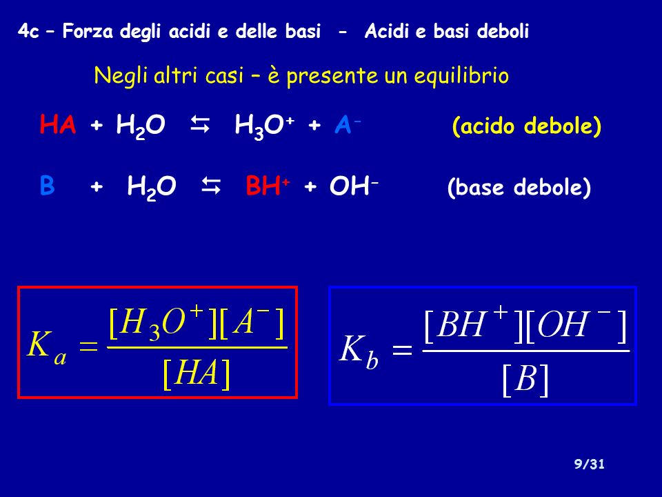 9/31 4c – Forza degli acidi e delle basi - Acidi e basi deboli HA + H 2 O H 3 O + + A - (acido debole) B + H 2 O BH + + OH - (base debole) Negli altri