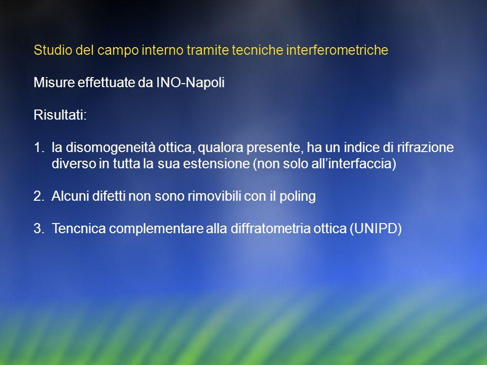 Studio del campo interno tramite tecniche interferometriche Misure effettuate da INO-Napoli Risultati: 1.la disomogeneità ottica, qualora presente, ha