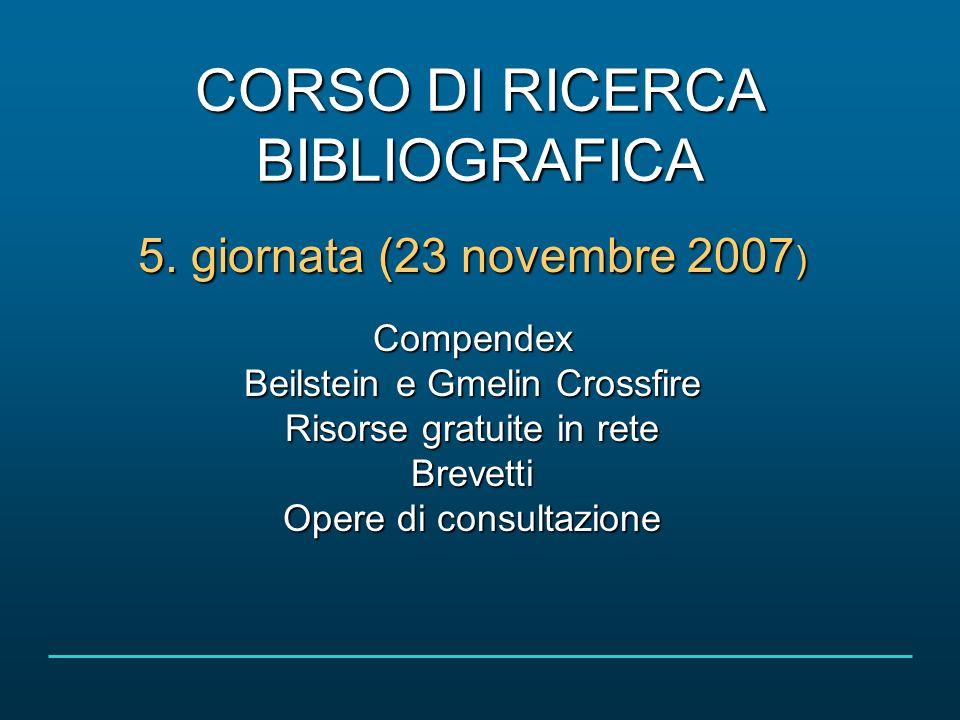 Corso di ricerca bibliografica 23 novembre 2007 2/47COMPENDEX Cosè E una base di dati bibliografica scientifica Come ci si collega http://www.cab.unipd.ithttp://www.cab.unipd.it >banche dati > accesso alfabetico > lettera C > Compendex > Interroga http://www.cab.unipd.it