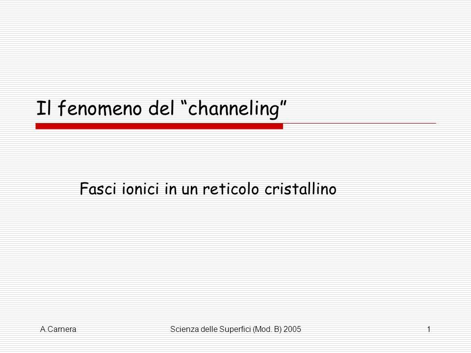 A.CarneraScienza delle Superfici (Mod. B) 20051 Il fenomeno del channeling Fasci ionici in un reticolo cristallino