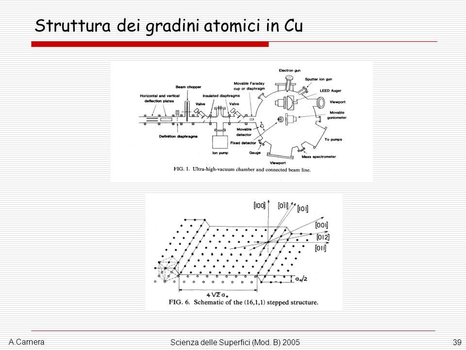 A.Carnera Scienza delle Superfici (Mod. B) 200539 Struttura dei gradini atomici in Cu