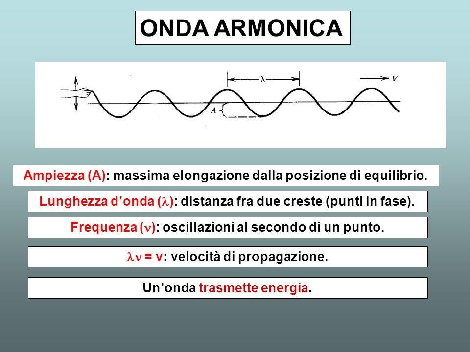 ONDA ARMONICA Ampiezza (A): massima elongazione dalla posizione di equilibrio. Lunghezza donda ( ): distanza fra due creste (punti in fase). Frequenza