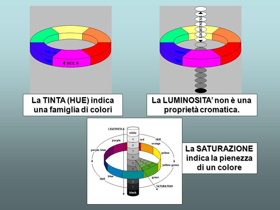 La TINTA (HUE) indica una famiglia di colori La LUMINOSITA non è una proprietà cromatica. La SATURAZIONE indica la pienezza di un colore