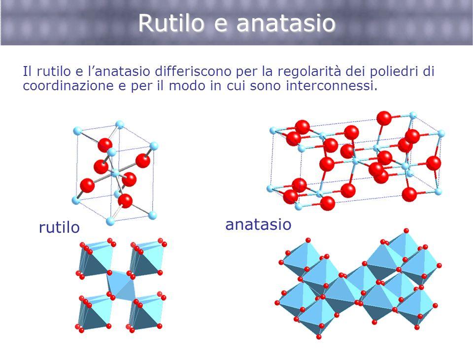 Rutilo e anatasio Il rutilo e lanatasio differiscono per la regolarità dei poliedri di coordinazione e per il modo in cui sono interconnessi. anatasio