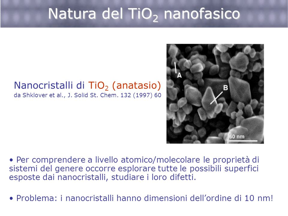 Natura del TiO 2 nanofasico Nanocristalli di TiO 2 (anatasio) da Shklover et al., J. Solid St. Chem. 132 (1997) 60 Per comprendere a livello atomico/m
