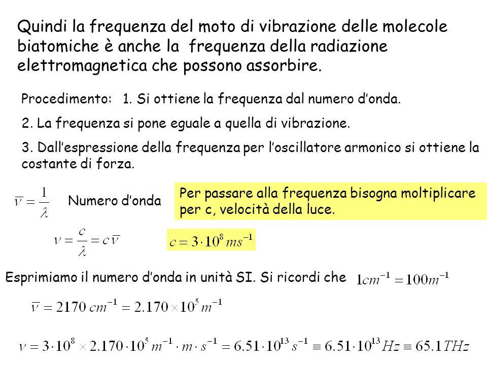 Quindi la frequenza del moto di vibrazione delle molecole biatomiche è anche la frequenza della radiazione elettromagnetica che possono assorbire. Pro