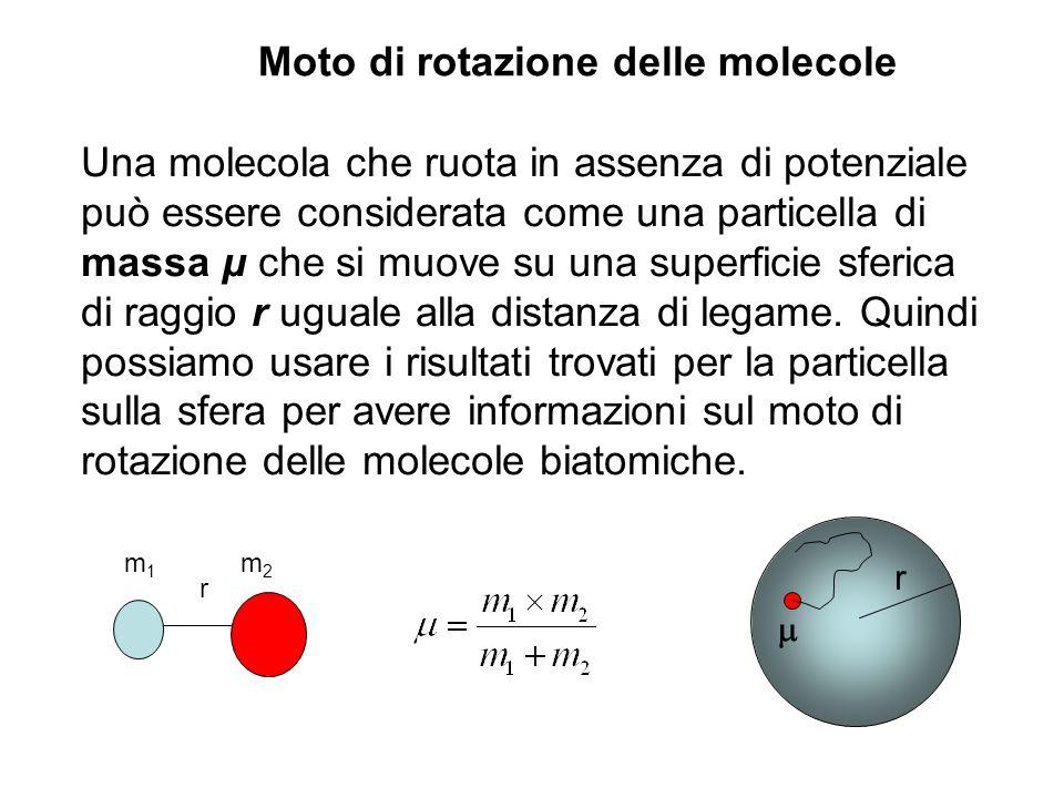 Una molecola che ruota in assenza di potenziale può essere considerata come una particella di massa μ che si muove su una superficie sferica di raggio