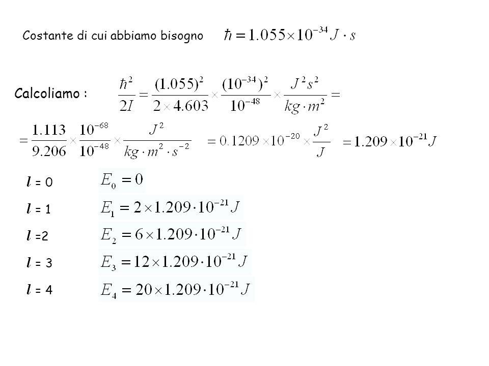 Calcoliamo : Costante di cui abbiamo bisogno l = 0 l = 1 l =2 l = 3 l = 4