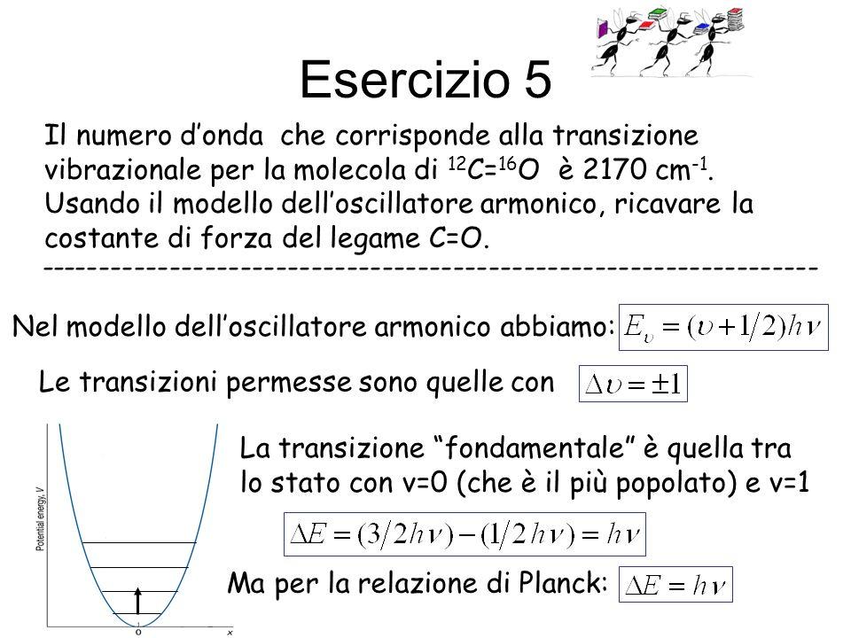 Esercizio 5 Il numero donda che corrisponde alla transizione vibrazionale per la molecola di 12 C= 16 O è 2170 cm -1. Usando il modello delloscillator
