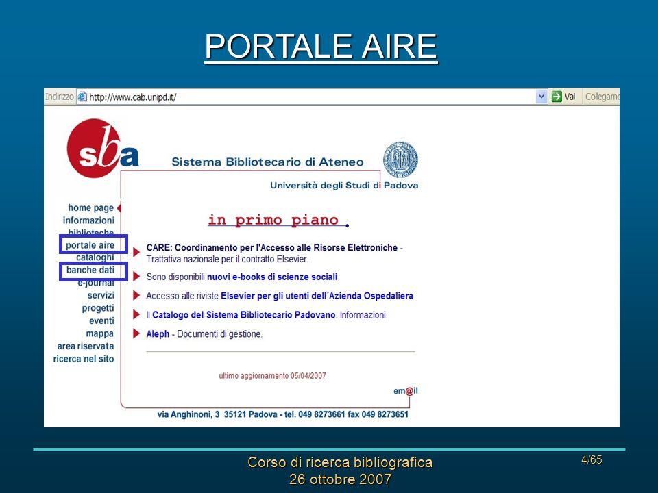 Corso di ricerca bibliografica 26 ottobre 2007 35/65 WEB OF SCIENCE: ACCESSO