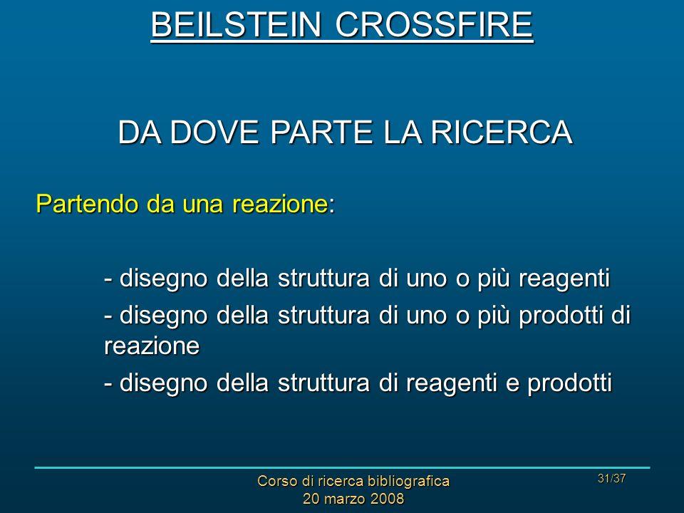 Corso di ricerca bibliografica 20 marzo 2008 31/37 DA DOVE PARTE LA RICERCA Partendo da una reazione: - disegno della struttura di uno o più reagenti