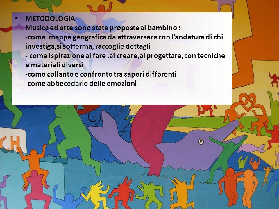 METODOLOGIA Musica ed arte sono state proposte al bambino : -come mappa geografica da attraversare con landatura di chi investiga,si sofferma, raccogl