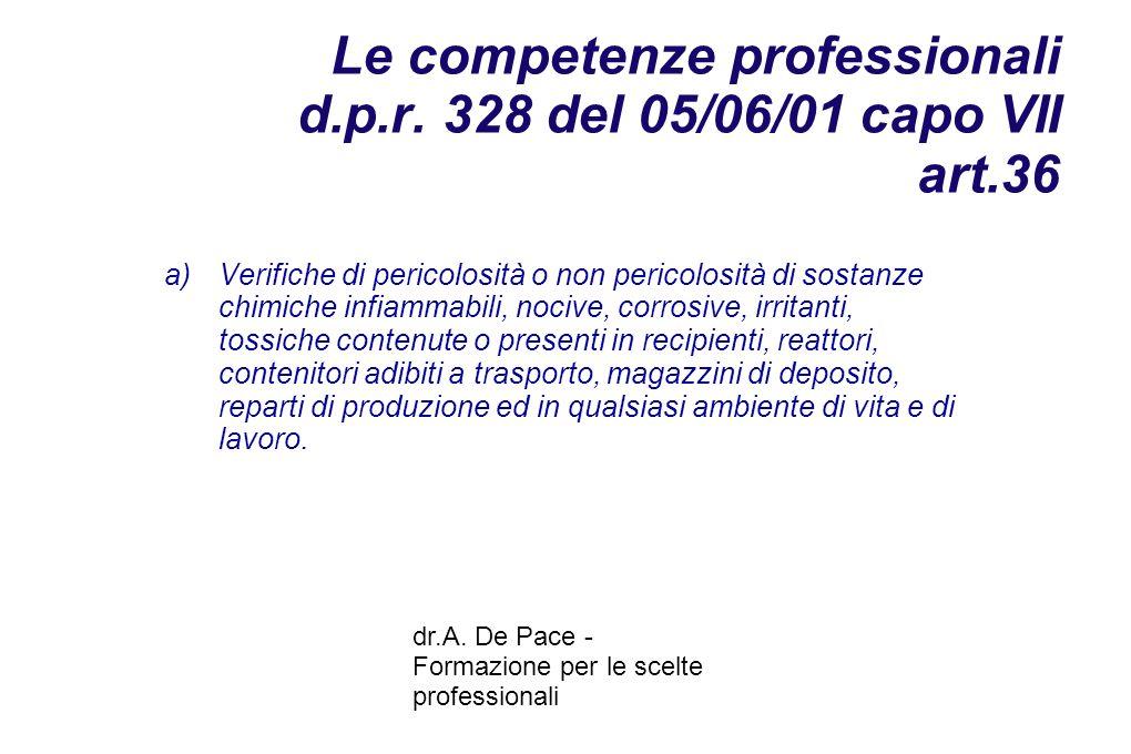 dr.A. De Pace - Formazione per le scelte professionali Le competenze professionali d.p.r.