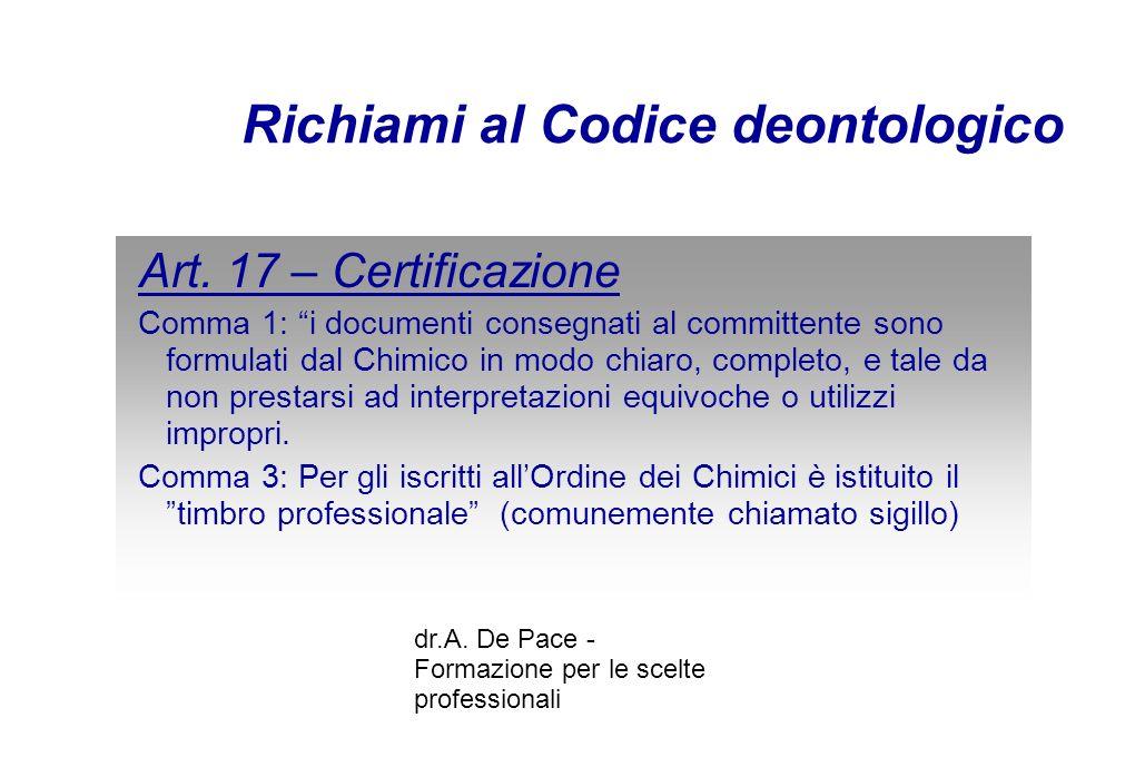 dr.A. De Pace - Formazione per le scelte professionali Richiami al Codice deontologico Art.