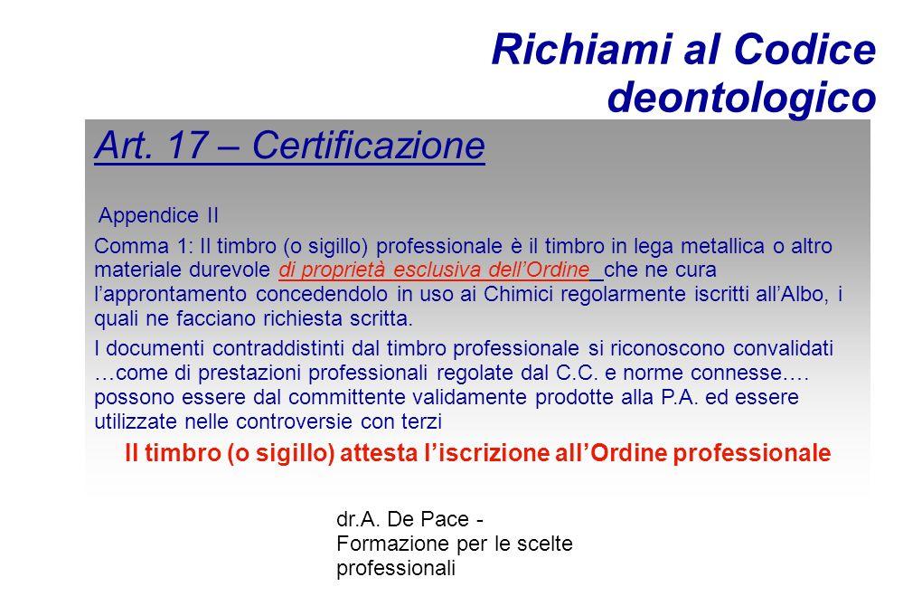 dr.A. De Pace - Formazione per le scelte professionali Art.
