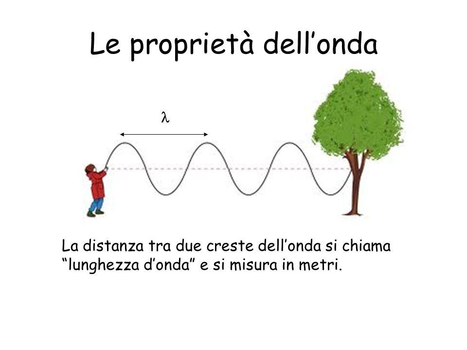 Le proprietà dellonda La distanza tra due creste dellonda si chiama lunghezza donda e si misura in metri.