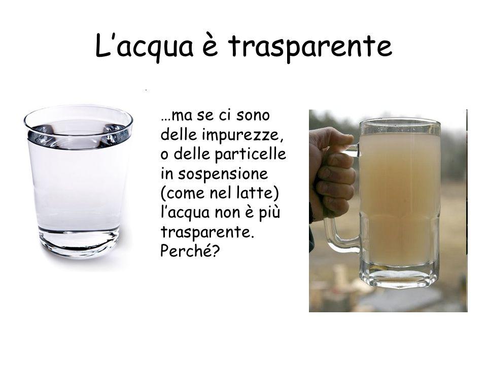 Lacqua è trasparente …ma se ci sono delle impurezze, o delle particelle in sospensione (come nel latte) lacqua non è più trasparente. Perché?