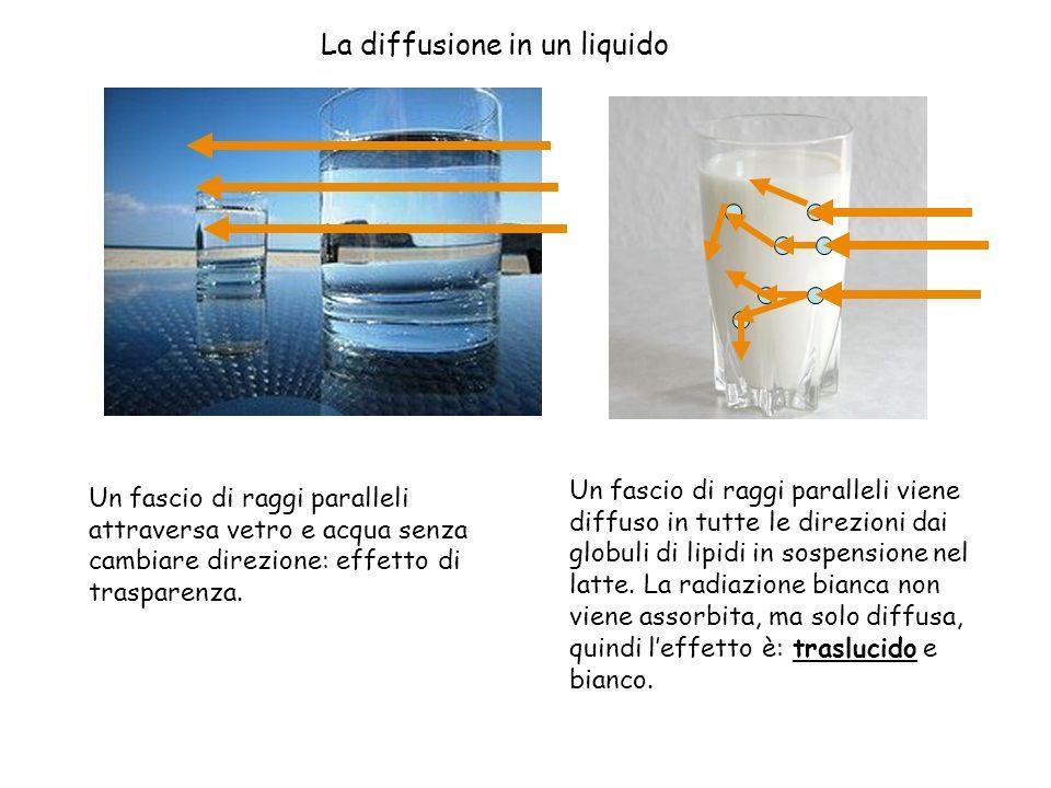 Un fascio di raggi paralleli attraversa vetro e acqua senza cambiare direzione: effetto di trasparenza. Un fascio di raggi paralleli viene diffuso in