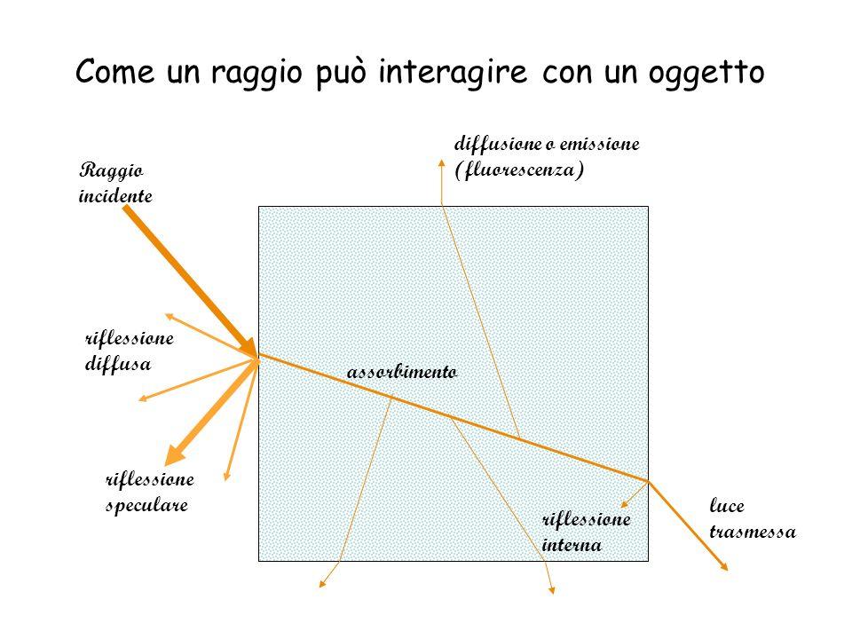 Come un raggio può interagire con un oggetto riflessione speculare riflessione diffusa Raggio incidente assorbimento diffusione o emissione (fluoresce