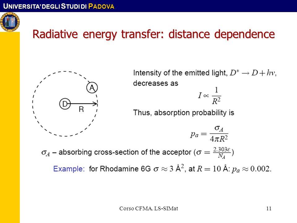 U NIVERSITA DEGLI S TUDI DI P ADOVA Corso CFMA. LS-SIMat11 Radiative energy transfer: distance dependence