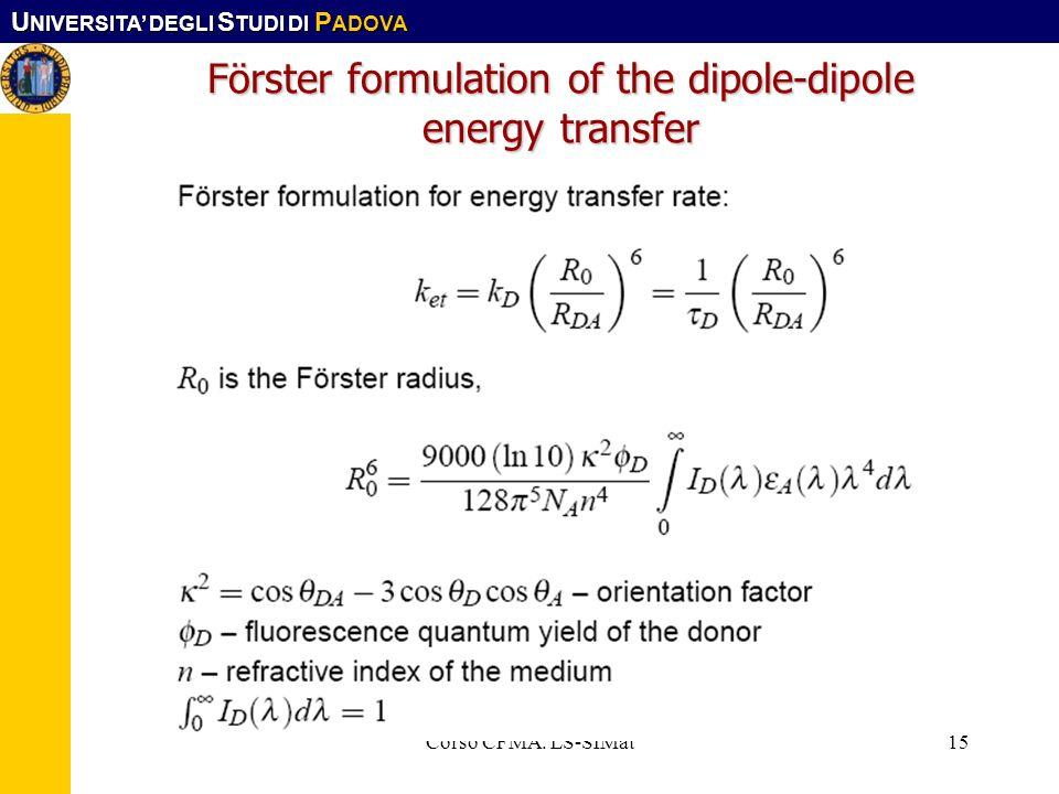 U NIVERSITA DEGLI S TUDI DI P ADOVA Corso CFMA. LS-SIMat15 Förster formulation of the dipole-dipole energy transfer
