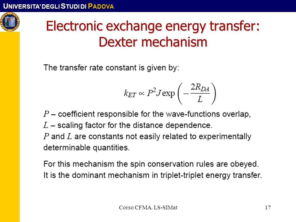 U NIVERSITA DEGLI S TUDI DI P ADOVA Corso CFMA. LS-SIMat17 Electronic exchange energy transfer: Dexter mechanism