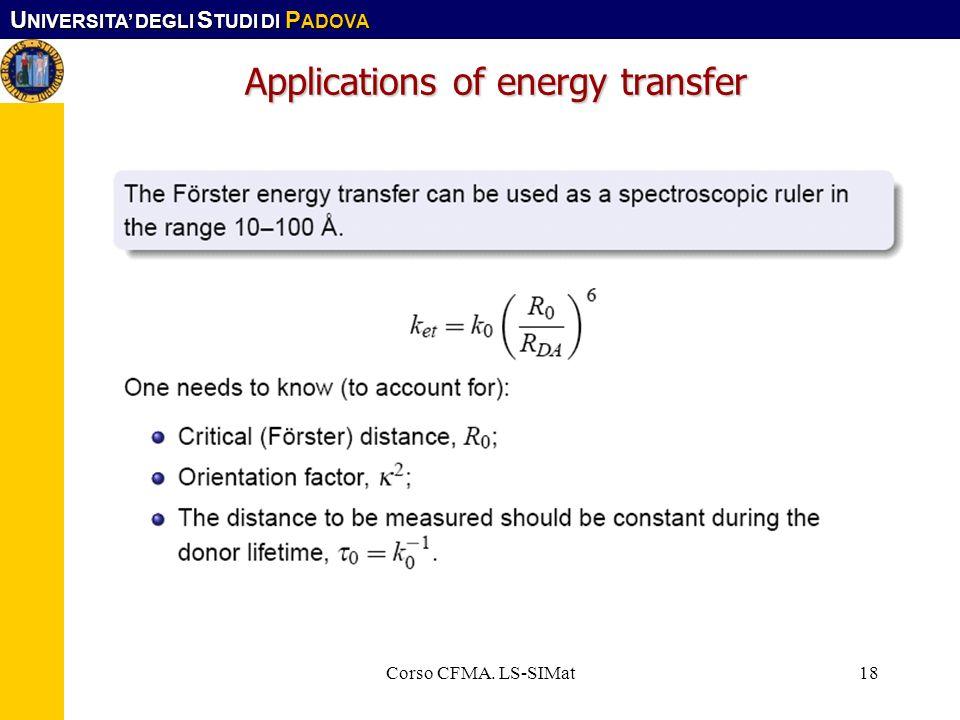 U NIVERSITA DEGLI S TUDI DI P ADOVA Corso CFMA. LS-SIMat18 Applications of energy transfer