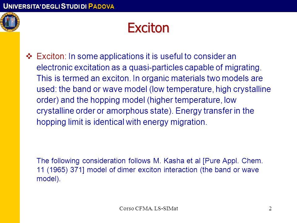 U NIVERSITA DEGLI S TUDI DI P ADOVA Corso CFMA. LS-SIMat13 Förster mechanism from Fermi Golden rule