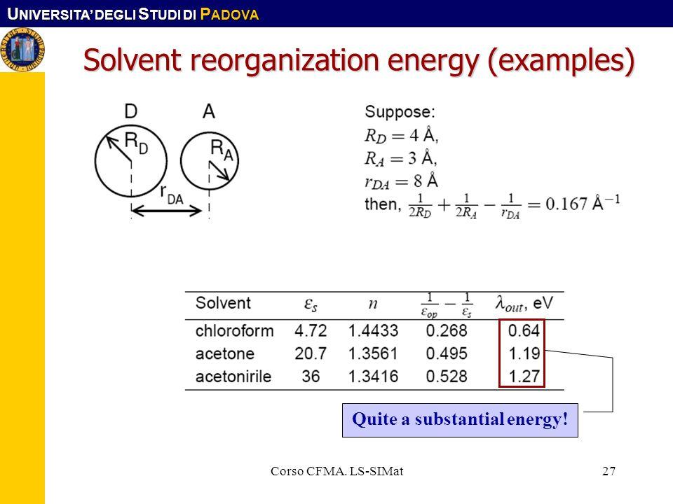 U NIVERSITA DEGLI S TUDI DI P ADOVA Corso CFMA. LS-SIMat27 Solvent reorganization energy (examples) Quite a substantial energy!