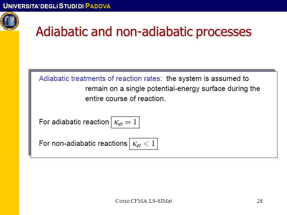 U NIVERSITA DEGLI S TUDI DI P ADOVA Corso CFMA. LS-SIMat28 Adiabatic and non-adiabatic processes