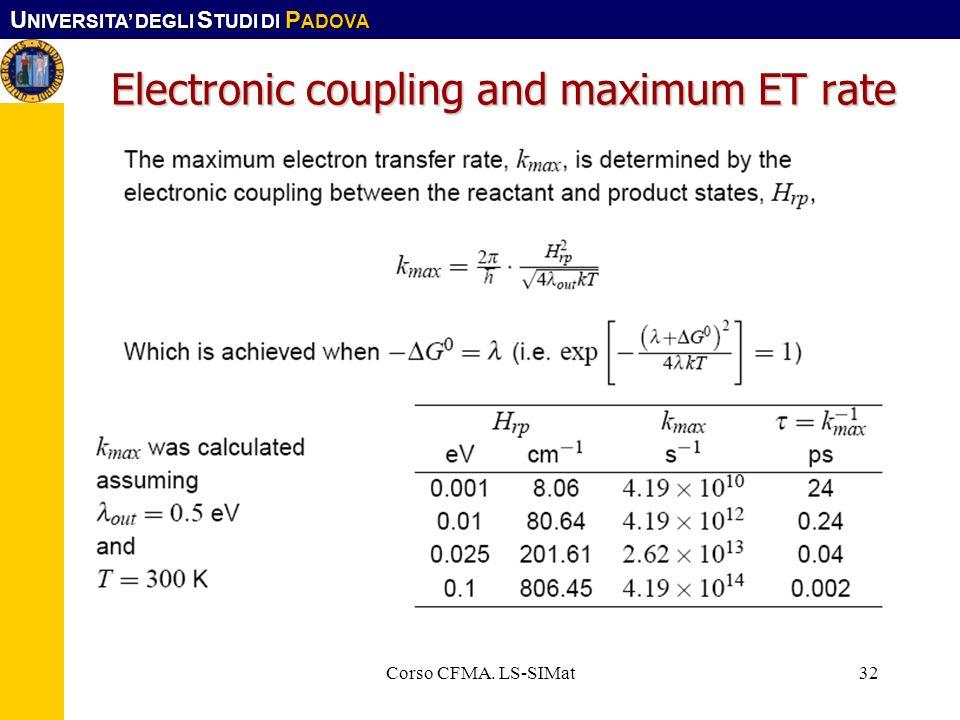 U NIVERSITA DEGLI S TUDI DI P ADOVA Corso CFMA. LS-SIMat32 Electronic coupling and maximum ET rate