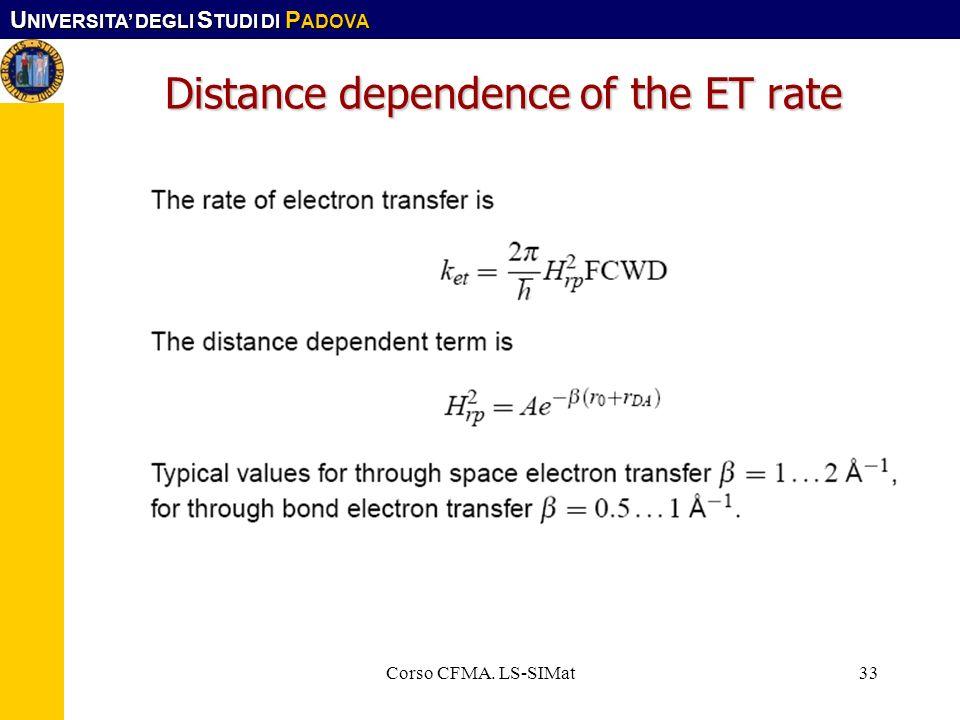 U NIVERSITA DEGLI S TUDI DI P ADOVA Corso CFMA. LS-SIMat33 Distance dependence of the ET rate