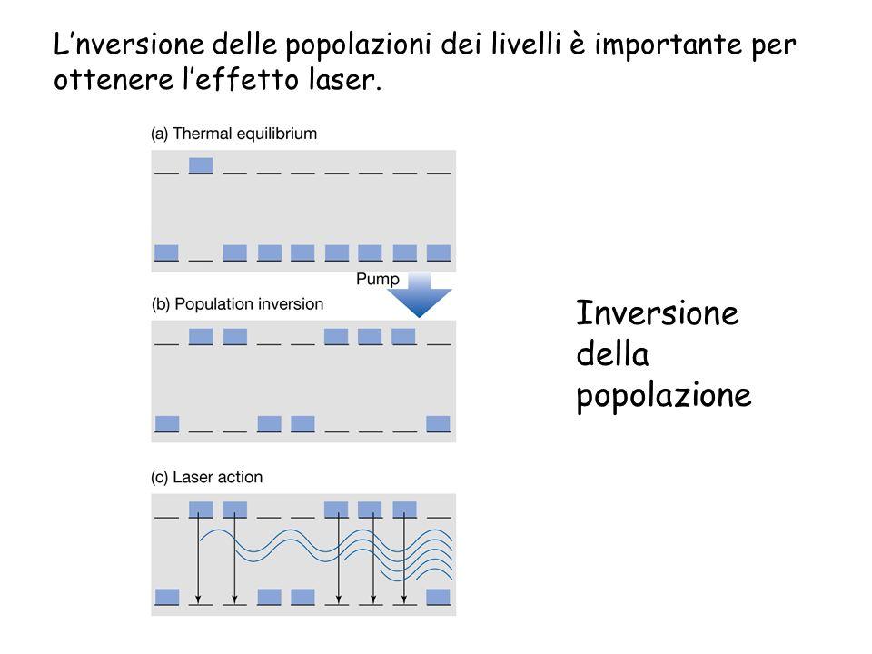 Inversione della popolazione Lnversione delle popolazioni dei livelli è importante per ottenere leffetto laser.