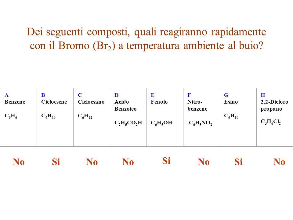 Dei seguenti composti, quali reagiranno rapidamente con il Bromo (Br 2 ) a temperatura ambiente al buio? A Benzene C 6 H 6 B Cicloesene C 6 H 10 C Cic