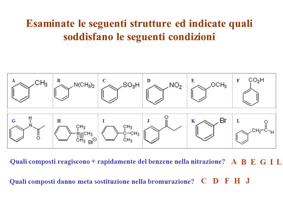 Esaminate le seguenti strutture ed indicate quali soddisfano le seguenti condizioni ABCDEF GHIJKL Quali composti reagiscono + rapidamente del benzene