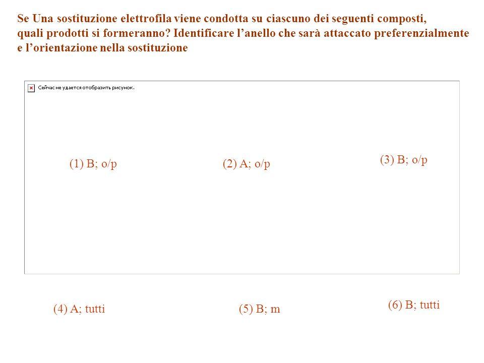 Se Una sostituzione elettrofila viene condotta su ciascuno dei seguenti composti, quali prodotti si formeranno? Identificare lanello che sarà attaccat