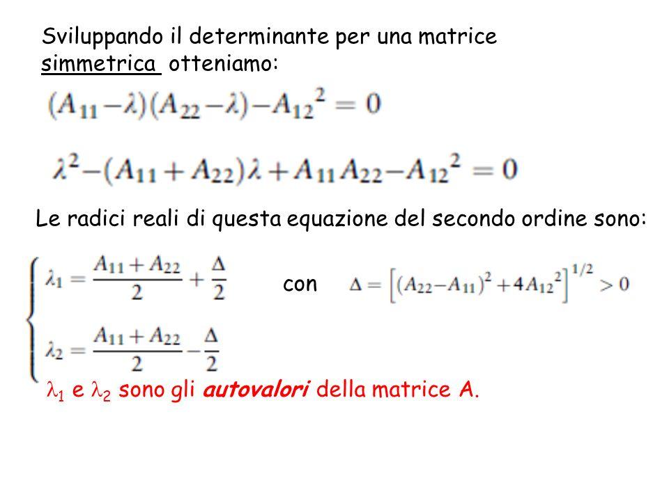 Sviluppando il determinante per una matrice simmetrica otteniamo: Le radici reali di questa equazione del secondo ordine sono: con 1 e 2 sono gli auto
