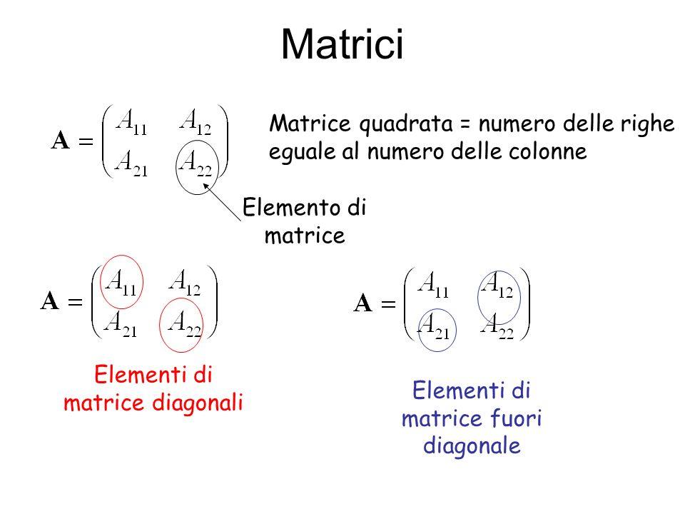 Se A 12 =A 21 la matrice si dice simmetrica Se A 12 =A 21 = 0 la matrice si dice diagonale Traccia di una matrice quadrata è la somma degli elementi diagonali : trA= A 11 +A 22 Determinante di una matrice quadrata |A| = detA Matrice trasposta di A: Si scambiano le righe con le colonne