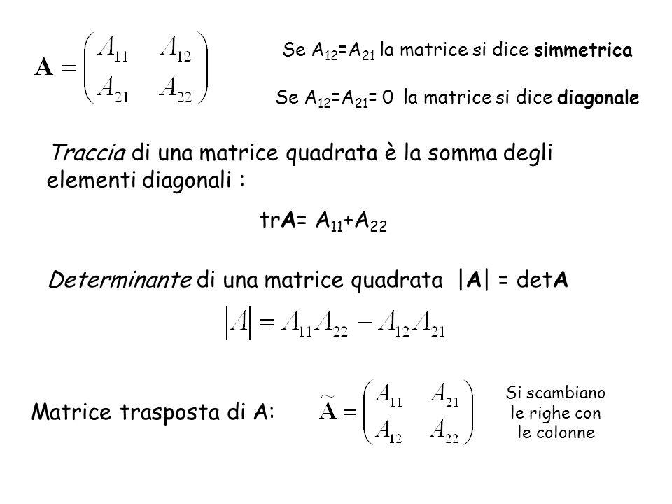 Se A 12 =A 21 la matrice si dice simmetrica Se A 12 =A 21 = 0 la matrice si dice diagonale Traccia di una matrice quadrata è la somma degli elementi d
