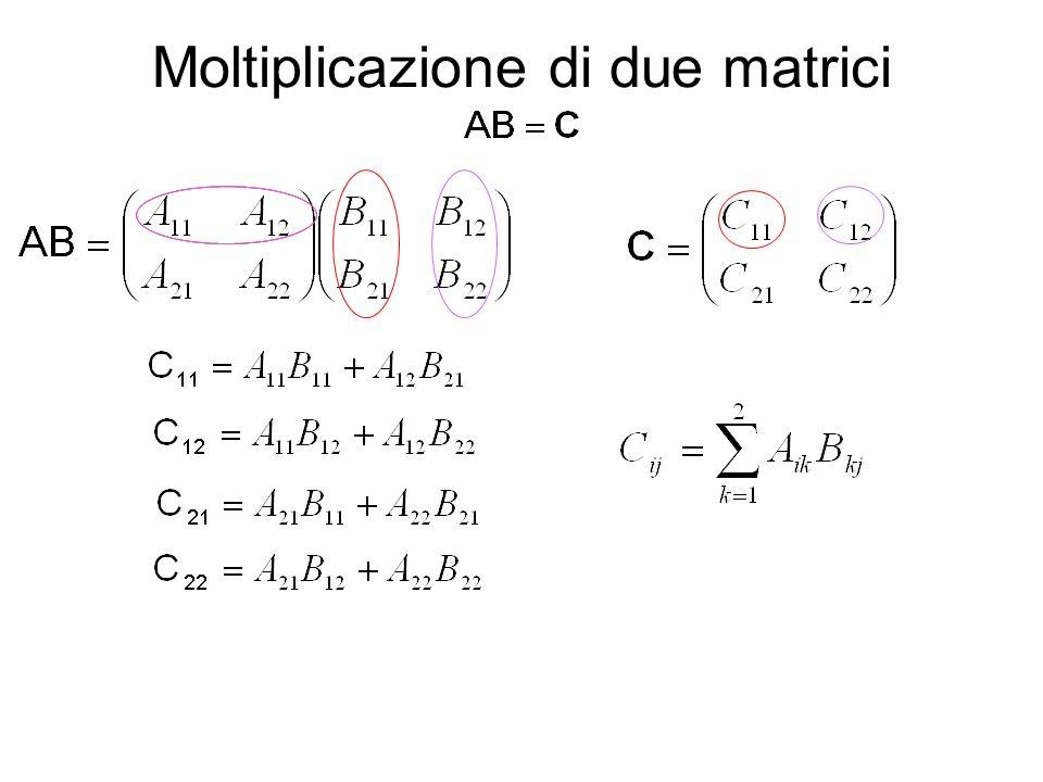 Per poter moltiplicare due matrici è necessario solo che il numero di colonne della prima sia eguale al numero di righe della seconda.