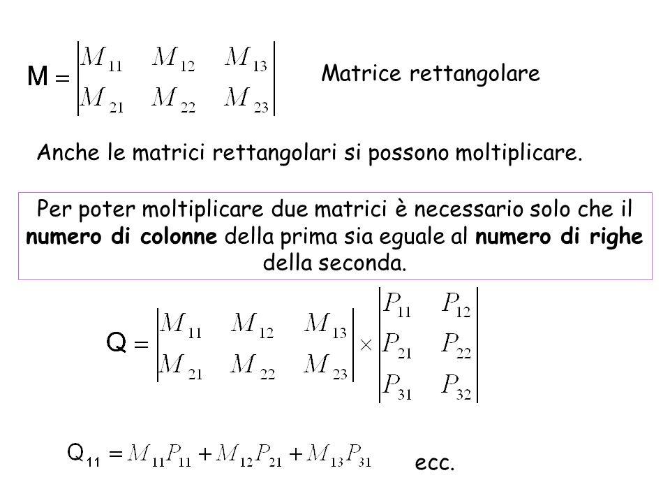 Matrici rettangolari con una sola colonna o una sola riga Vettore colonna Vettore riga (è la trasposta del vettore colonna)